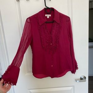 Coldwater Creek Pink Ruffle Blouse